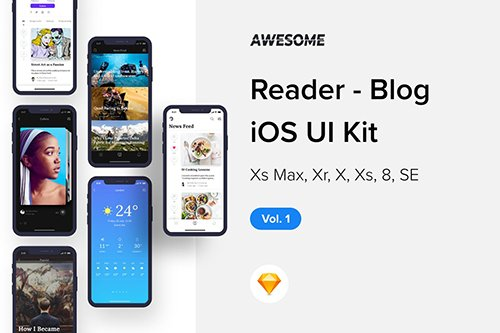 Awesome iOS UI Kit - Reader Blog Vol. 1 (Sketch)