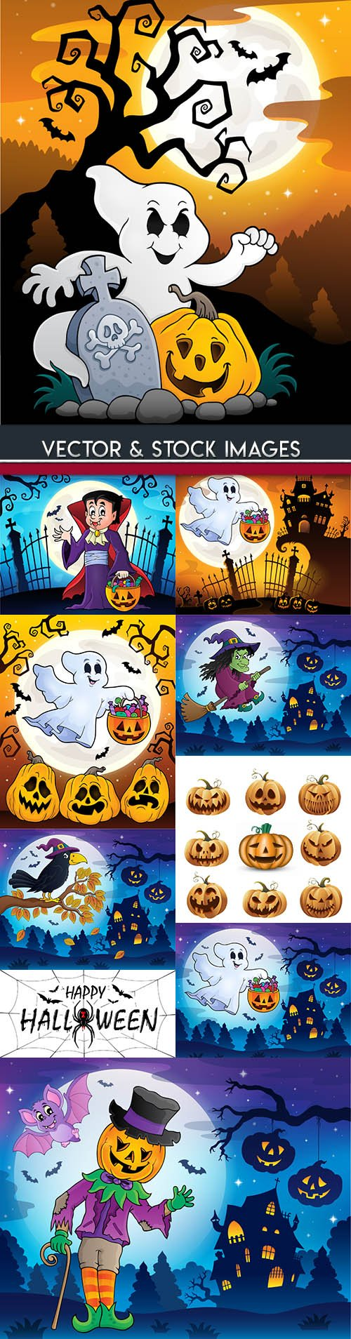 Happy Halloween holiday illustration collection 25