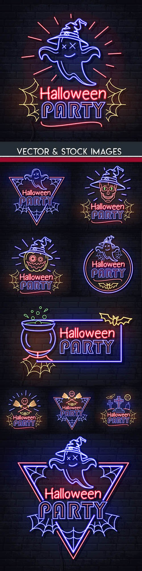 Happy Halloween holiday neon illustration collection