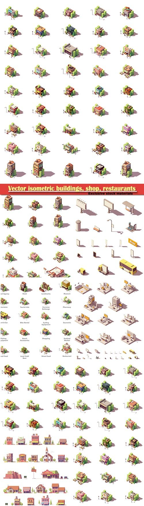 Vector isometric buildings, shop, restaurants, travel and tourism icons set