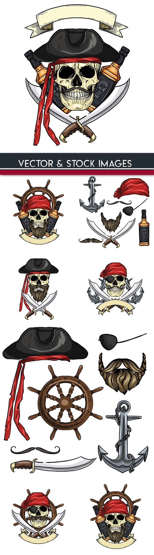 Pirates and weapons with clothing painted illustrations