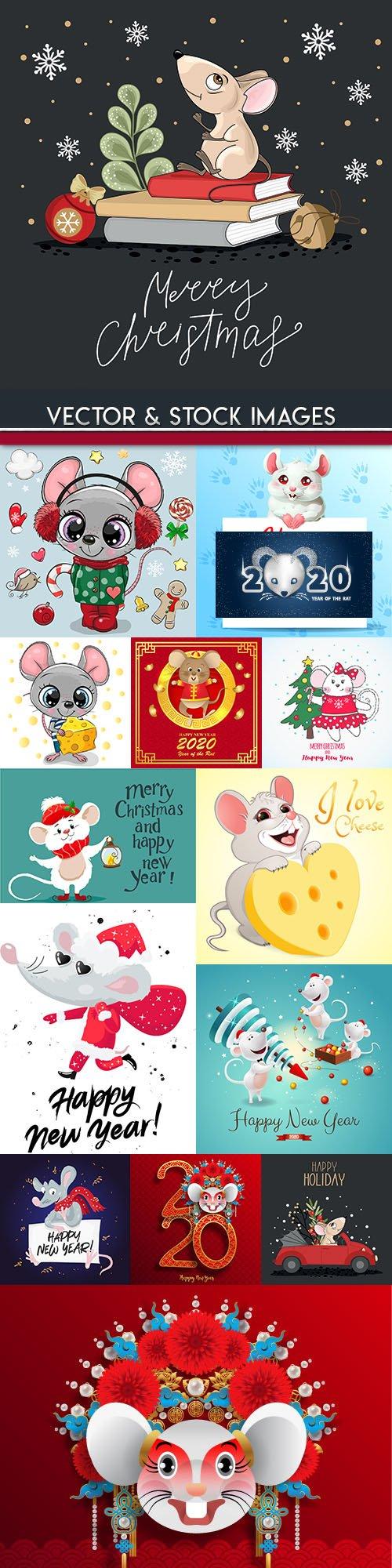 Rat cartoon symbol of New Year 2020 illustration 3