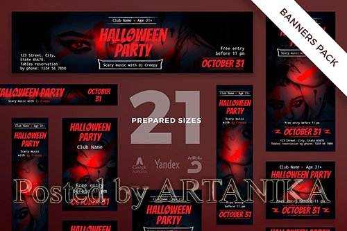 Halloween Party Banner Pack Template