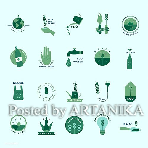 Set of organic and go green icons 473099