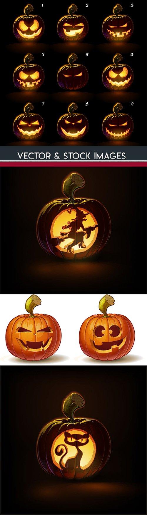 Happy Halloween pumpkin illustration collection