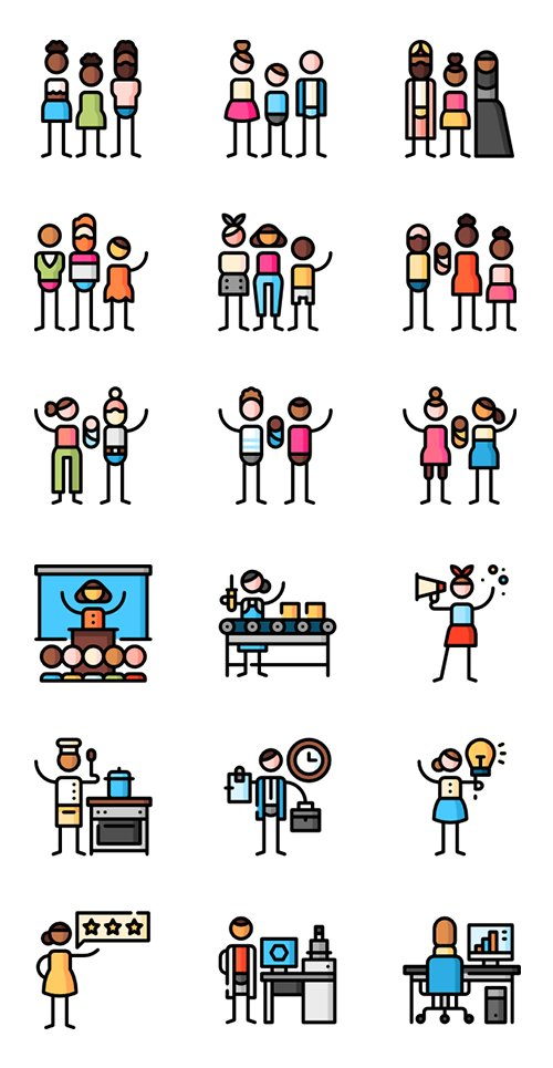100+ Puppet Characters Lineal Color Icons Set