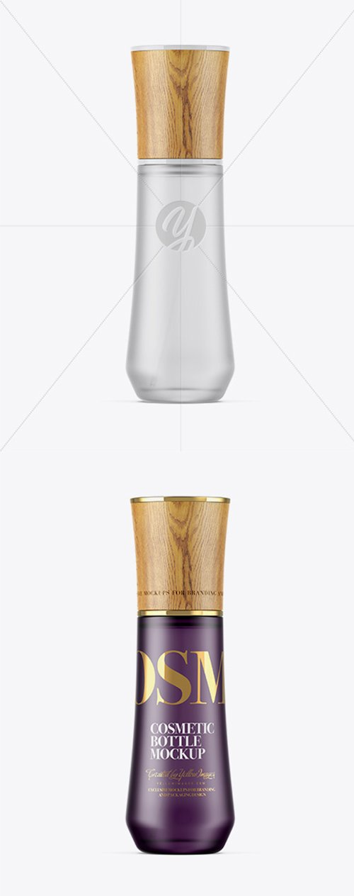 Frosted Glass Cosmetic Bottle W/ Wooden Cap Mockup 27219 TIF