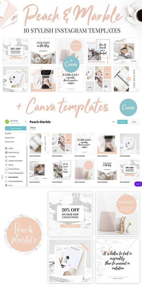 Canva Instagram Templates. Peach & Marble