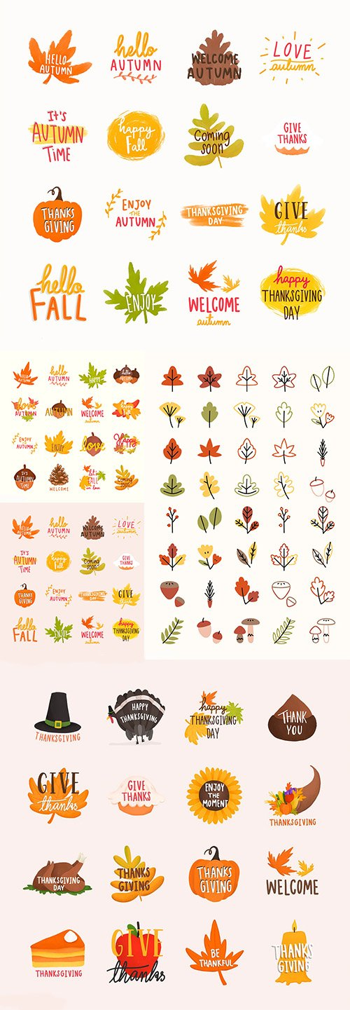 Autumn or Fall Illustrations and Colorful leaves Collection