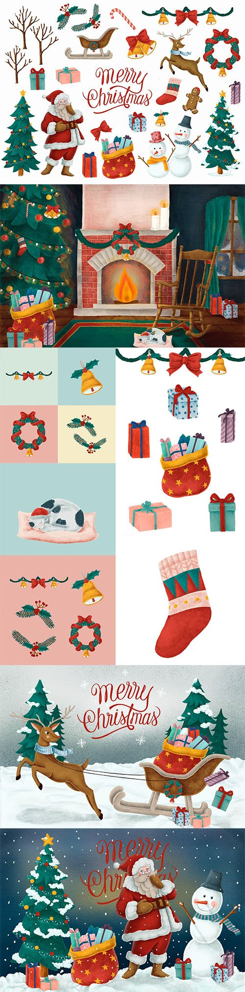 Merry Christmas Hand Drawn Card and Illustrations Collection