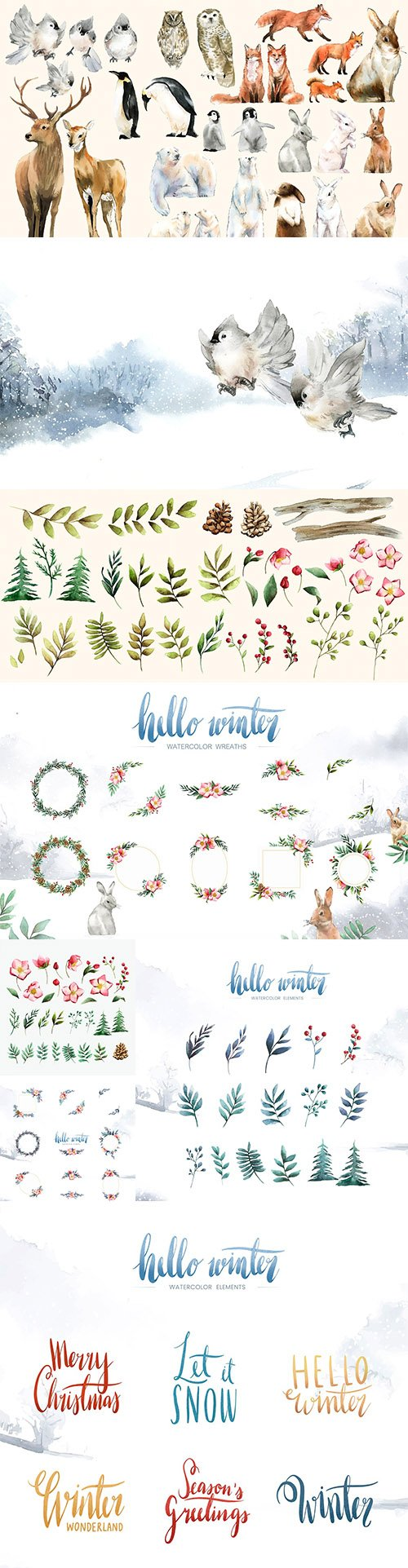 Winter Hand-Drawn Wildlife Watercolor Bloom and Elements Vector Collection