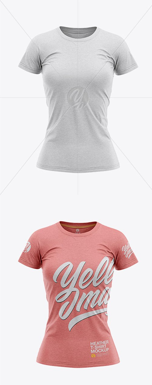Womens Heather Slim-Fit T-Shirt Mockup - Front View 32029 TIF