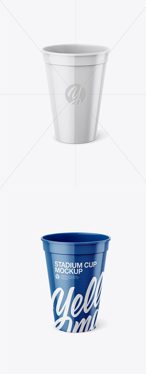 Glossy Stadium Cup Mockup - Front View (High Angle Shot) 25823 TIF