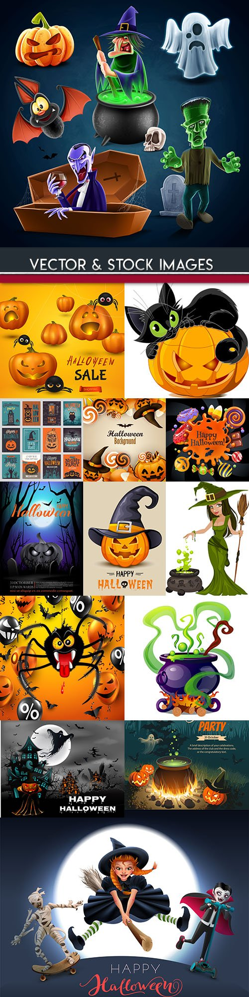 Happy Halloween holiday illustration collection 26