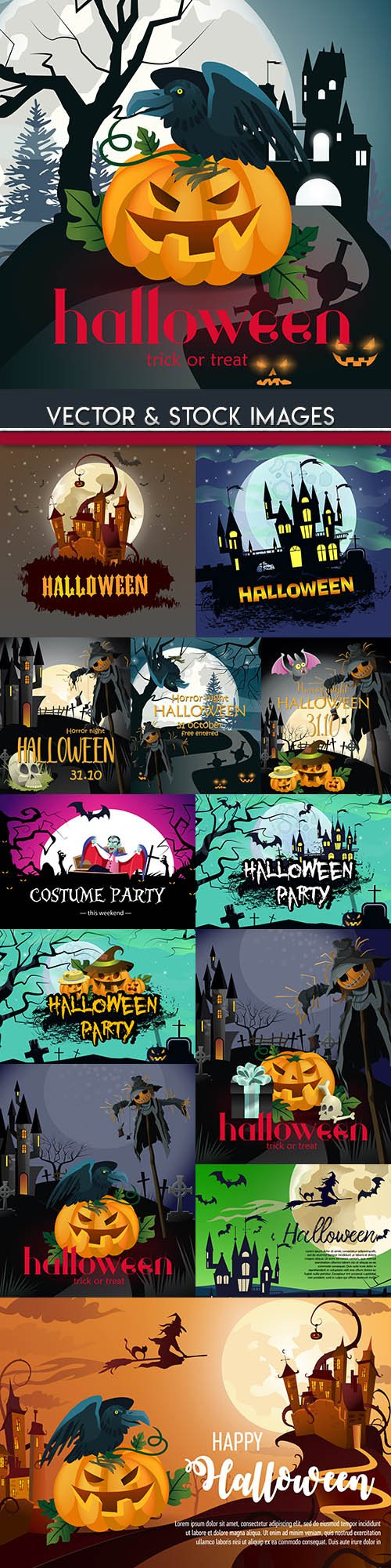 Happy Halloween holiday illustration collection 27