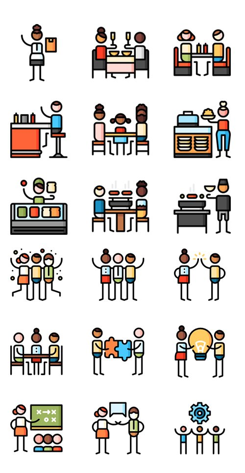 100+ Puppet Characters Lineal Color Icons Set vol2