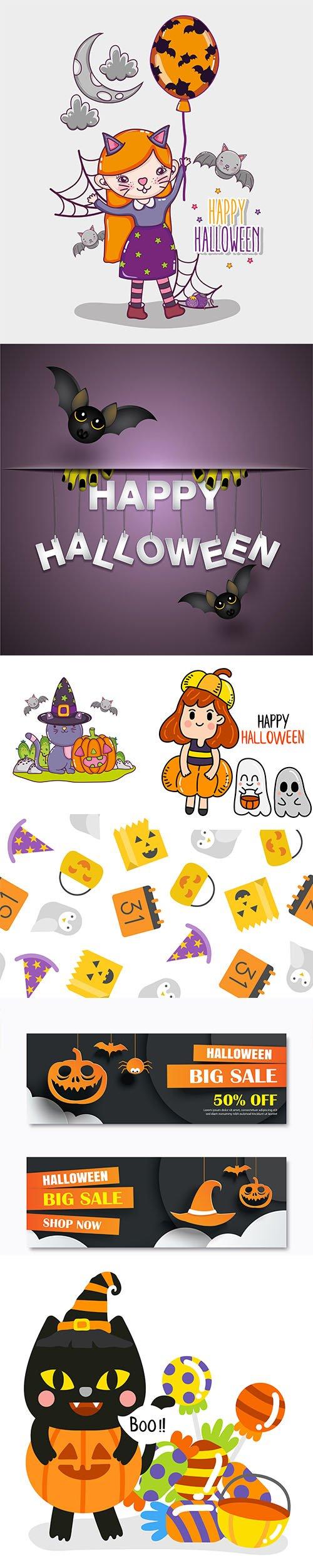 Happy Halloween Illustration Vector Set +Bonus Social Banner and Halloween Pattern