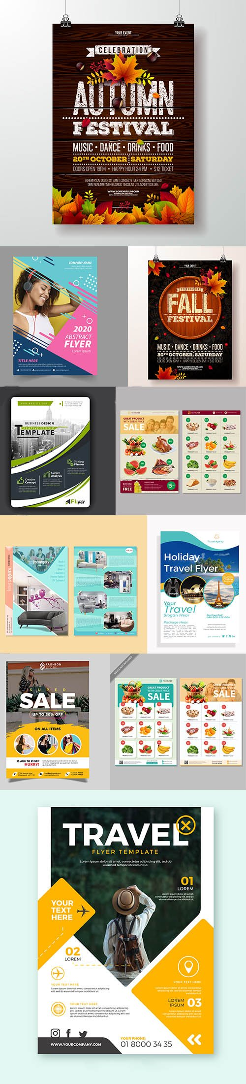 Set of Different Flyers Vector and PSD Template