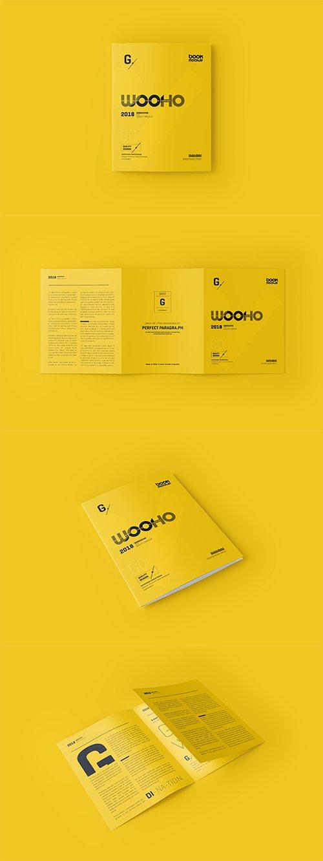Trifold Brochure Mockup PSD Set