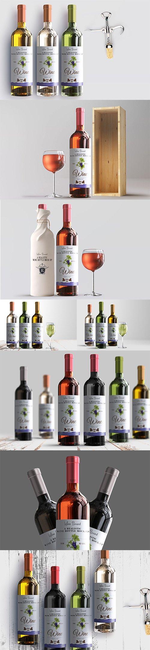 Realistic Wine Bottle Label Mockup PSD Pack