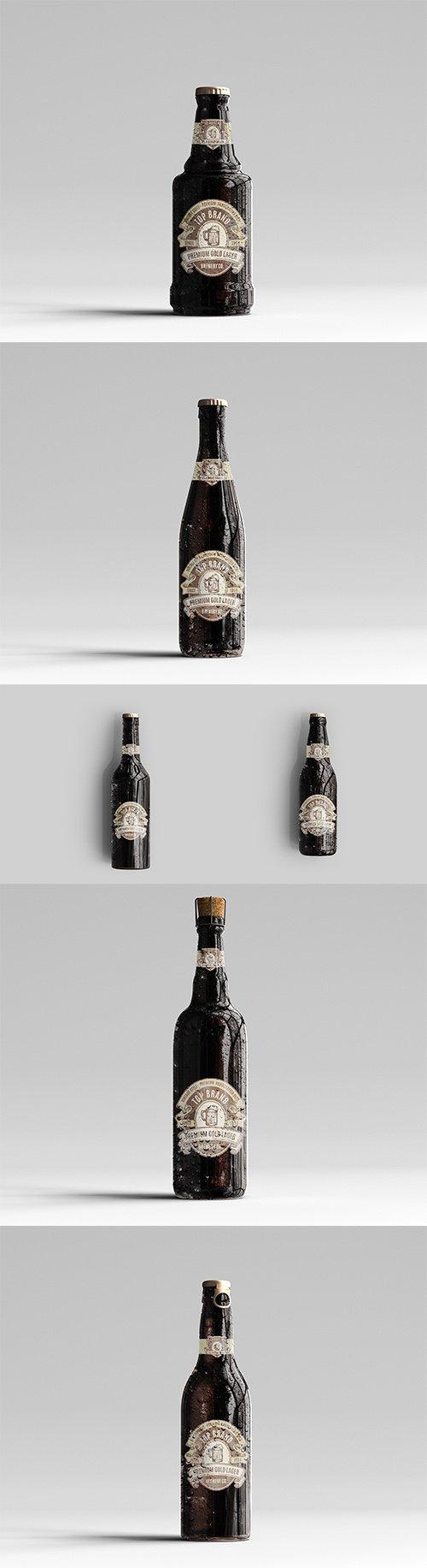 Amber Glass Beer Bottle Mockup PSD Pack