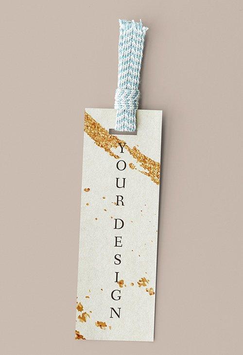 Golden Stroke Design Label PSD Mockup