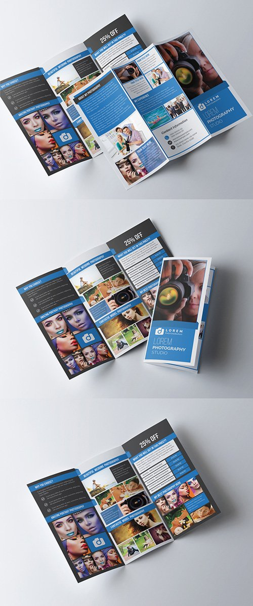 Photography Trifold Brochure Layout with Photo Frame Elements 277926704 AIT
