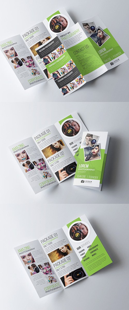 Green Trifold Photography Brochure Template 277926686 AIT