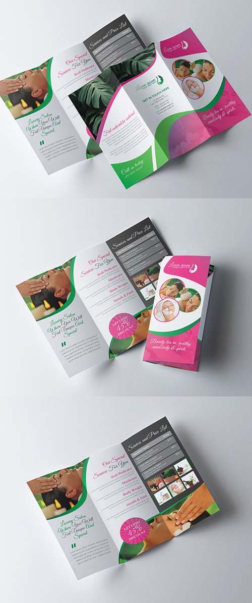 Beauty Spa Trifold Brochure Layout 277926645 AIT