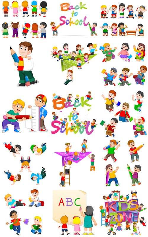 Happy Drawing Children with School Supplies - Vector Graphics
