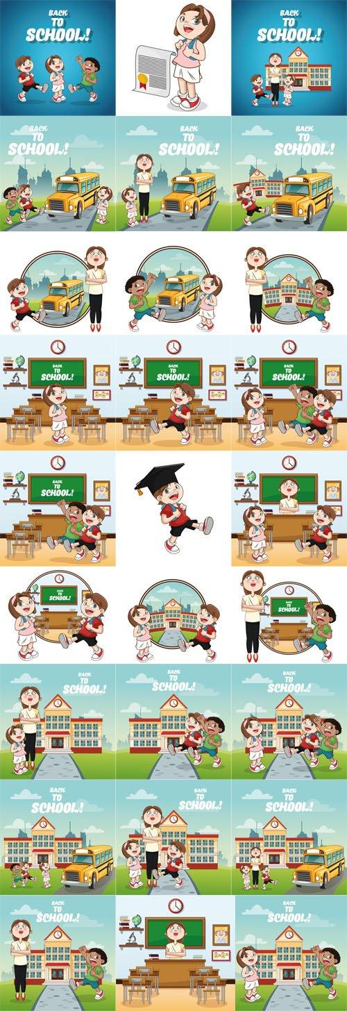 Children at School - Back to School - Vector Graphics