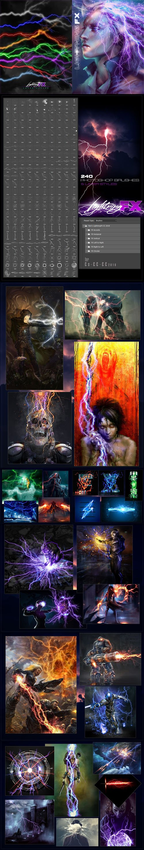 Rons Lightning FX Brushes & Styles for Photoshop