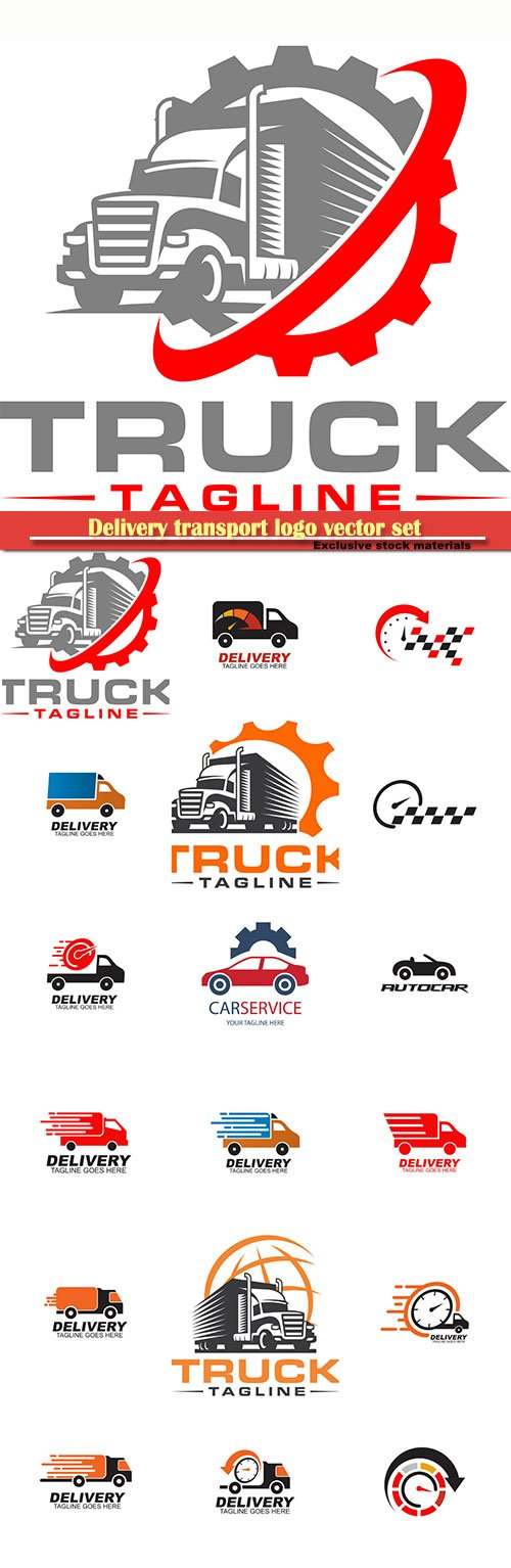 Delivery transport logo vector set