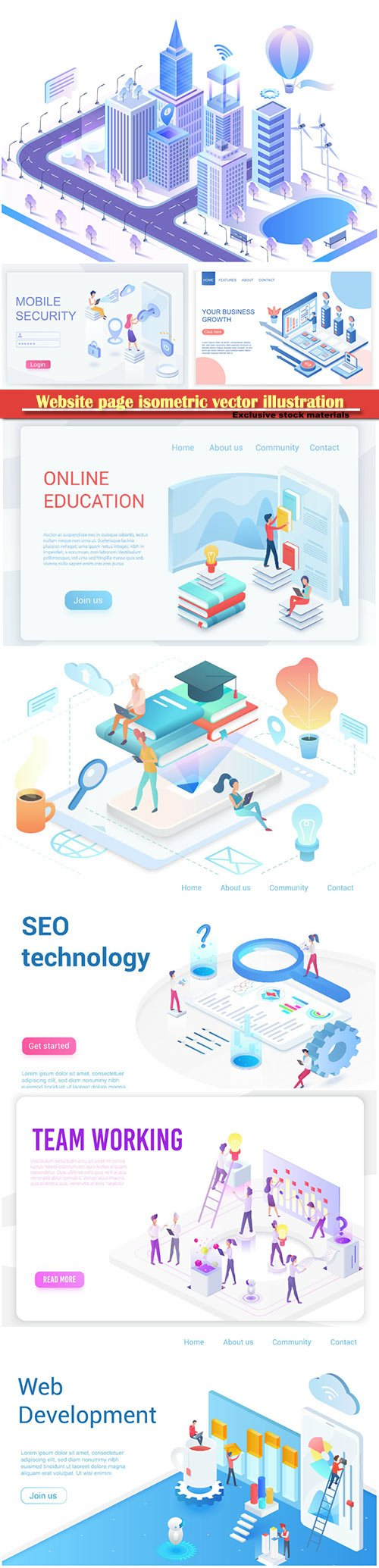 Website page isometric vector illustration, flat banner # 9