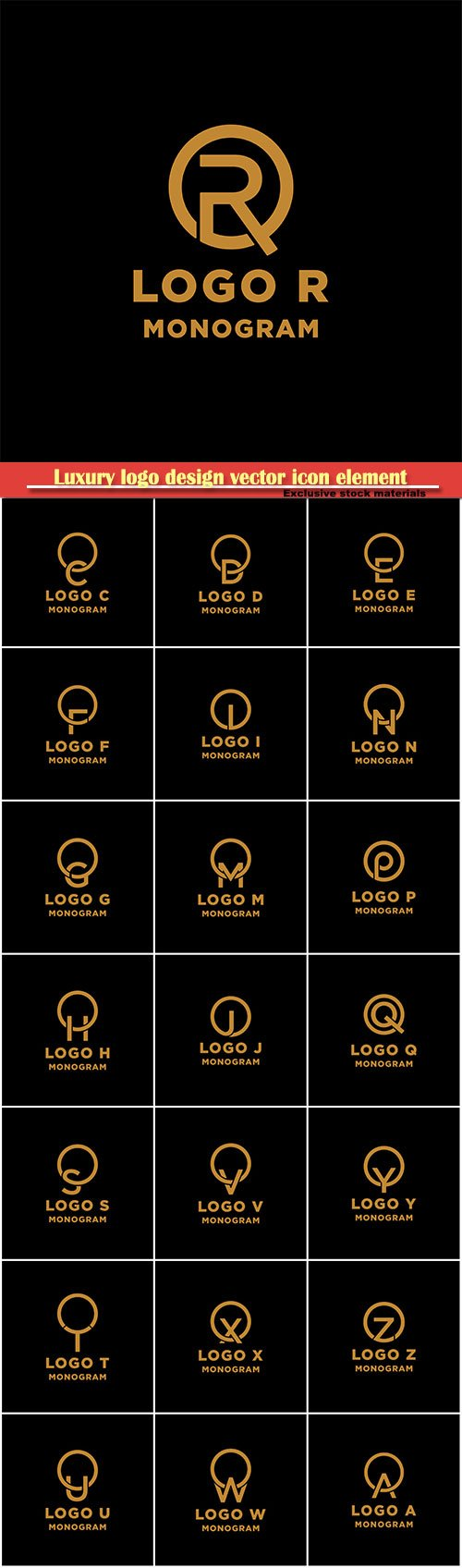 Luxury logo design vector icon element