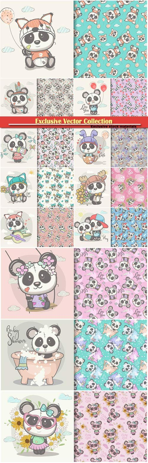 Greeting card cute cartoon with seamless pattern