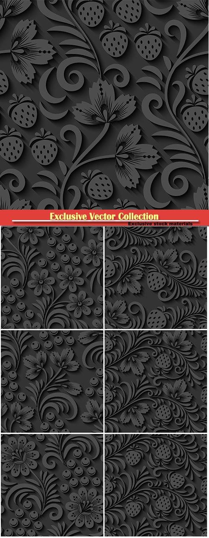 Elegant 3d seamless floral vector pattern