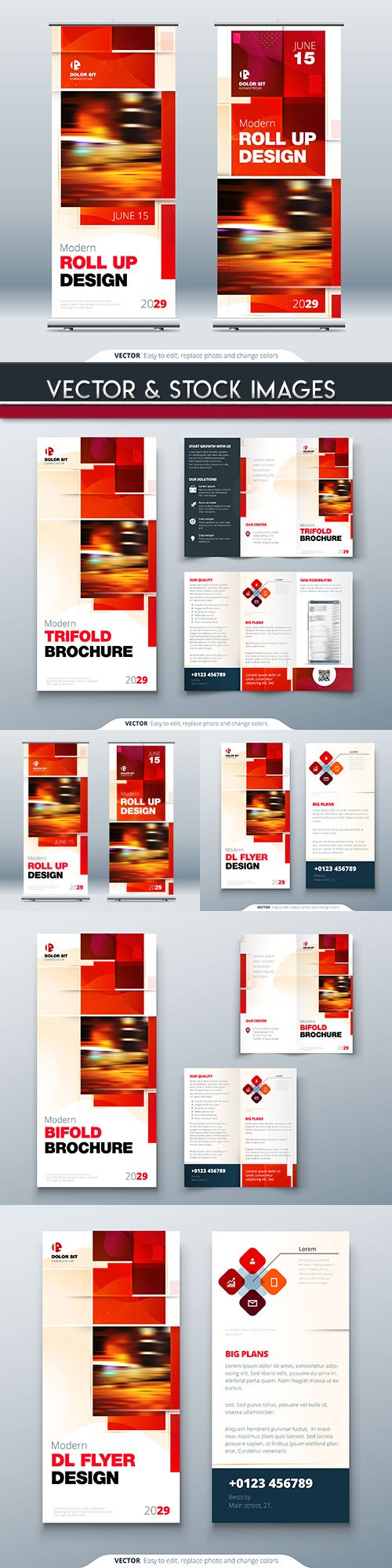 Modern brochures and flyer roll design template