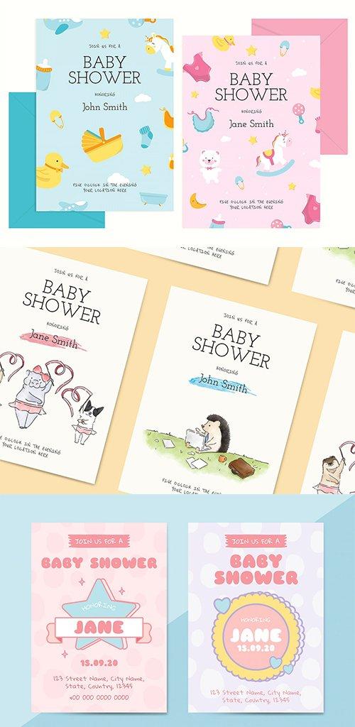 Cute Baby Shower Invitation Card Templates Vector Set