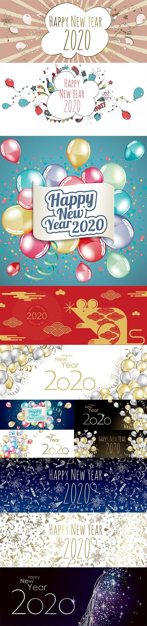 Merry Christmas and Happy New Year 2020 Illustrations Vector Set 3