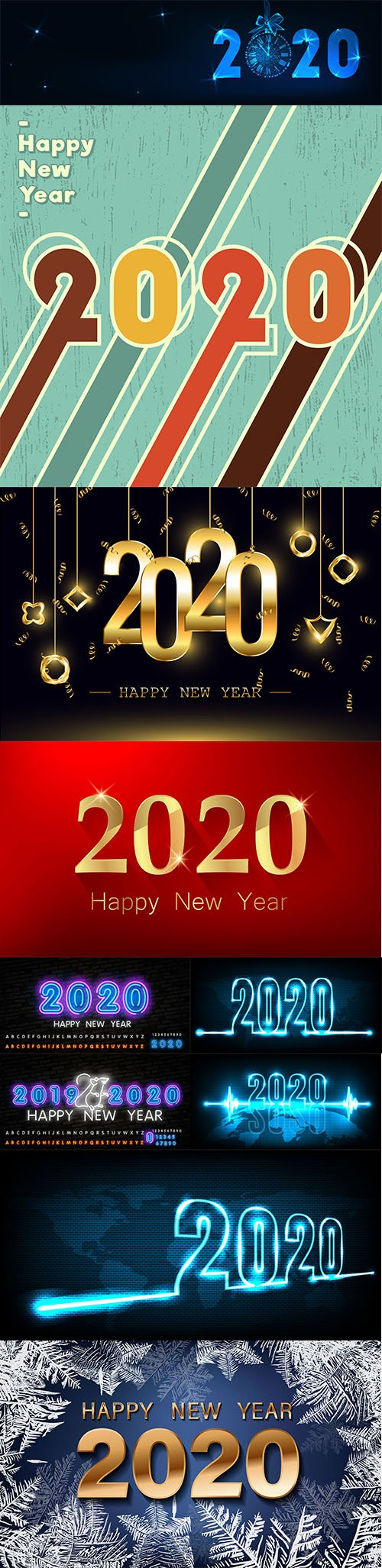 Merry Christmas and Happy New Year 2020 Illustrations Vector Set 2