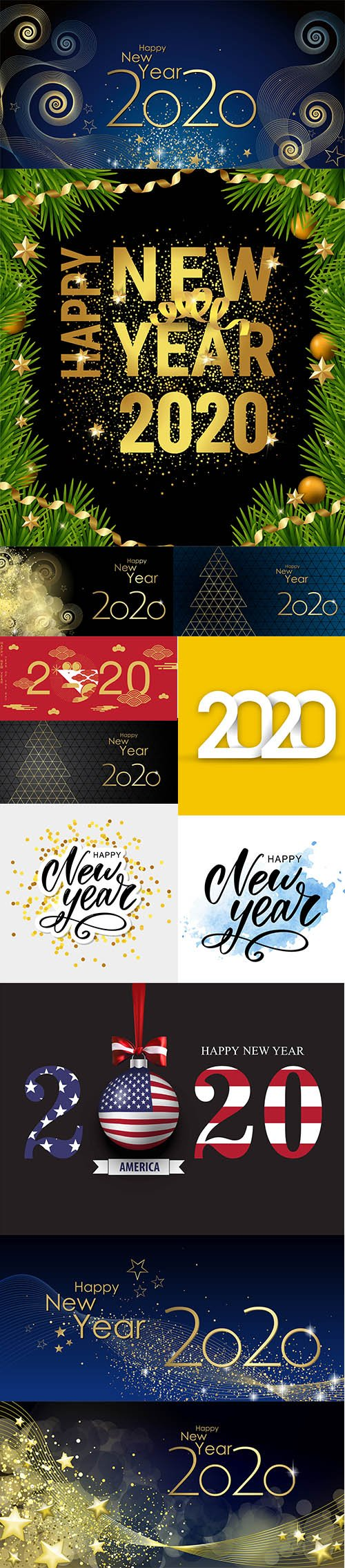 Merry Christmas and Happy New Year 2020 Illustrations Vector Set 4