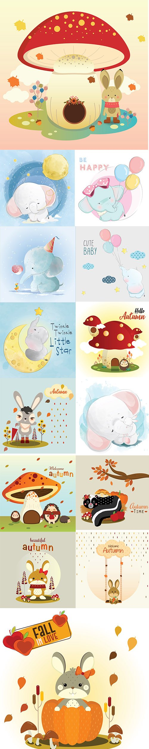 Hand Draw Lovely Cute Watercolor Animal Vector Pack 6