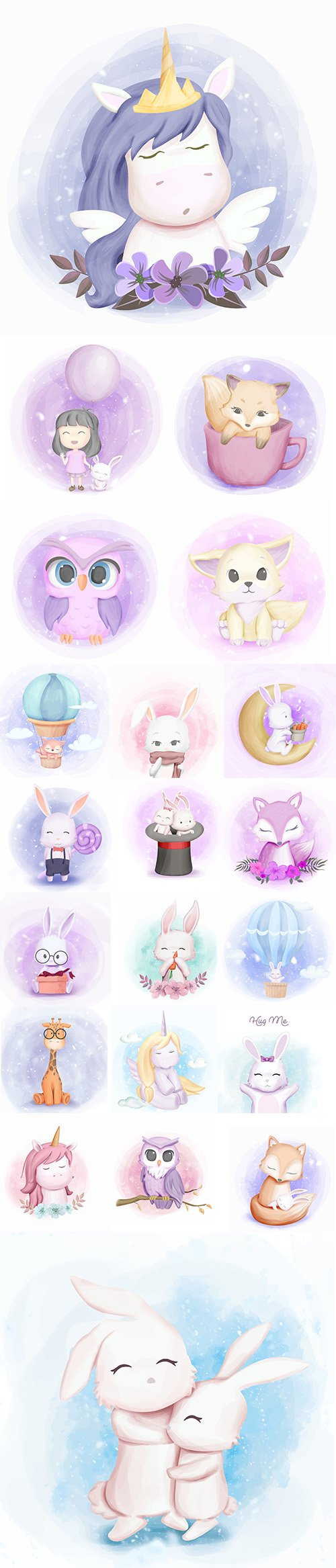 Hand Draw Lovely Cute Watercolor Animal Vector Pack 4