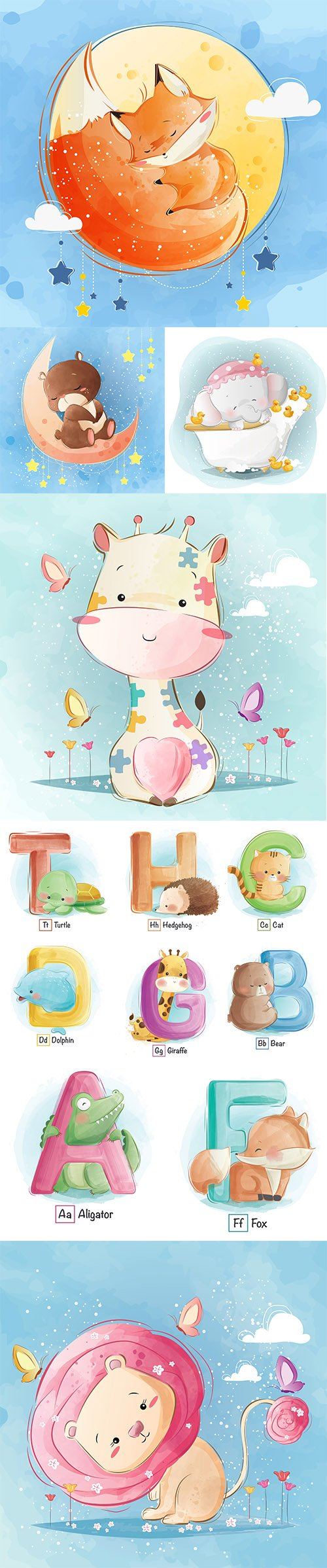 Hand Draw Lovely Cute Watercolor Animal Vector Pack 5