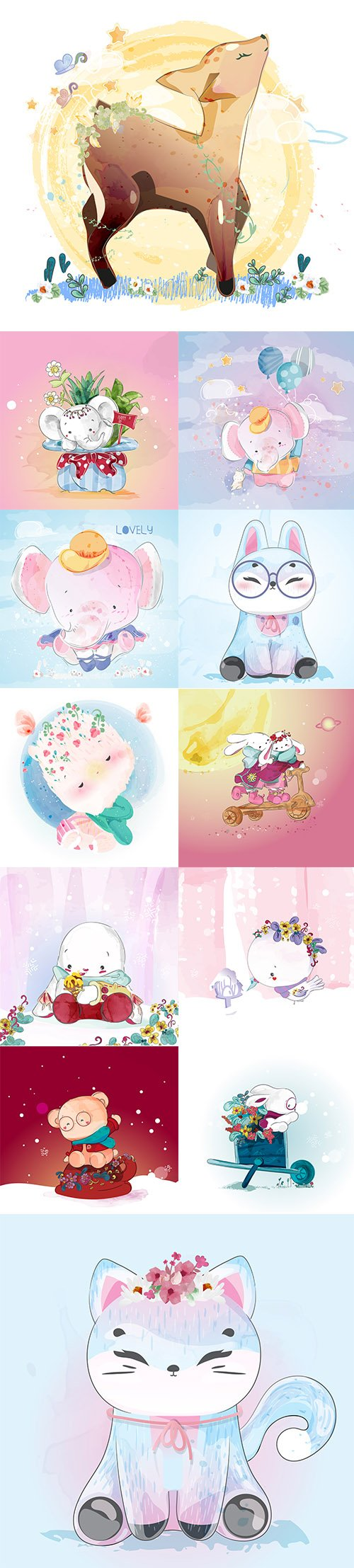 Hand Draw Lovely Cute Watercolor Animal Vector Pack 2