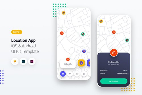 Location App iOS & Android UI Kit Template 1