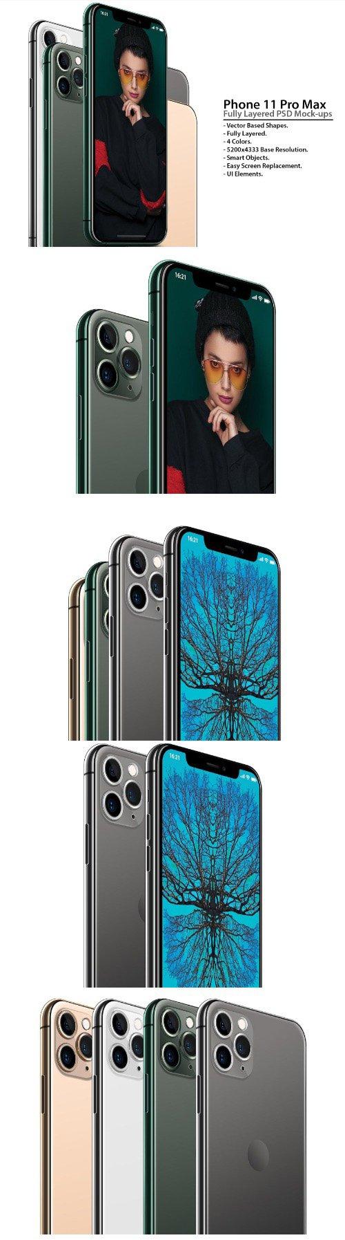 Phone 11 Pro Layered PSD Mock-ups