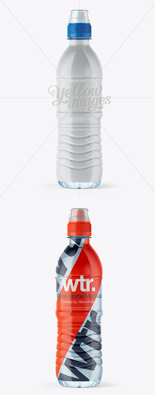 500ml Water Bottle with Sport Cap Mockup - Shrink Sleeve Labeling 10506 TIF