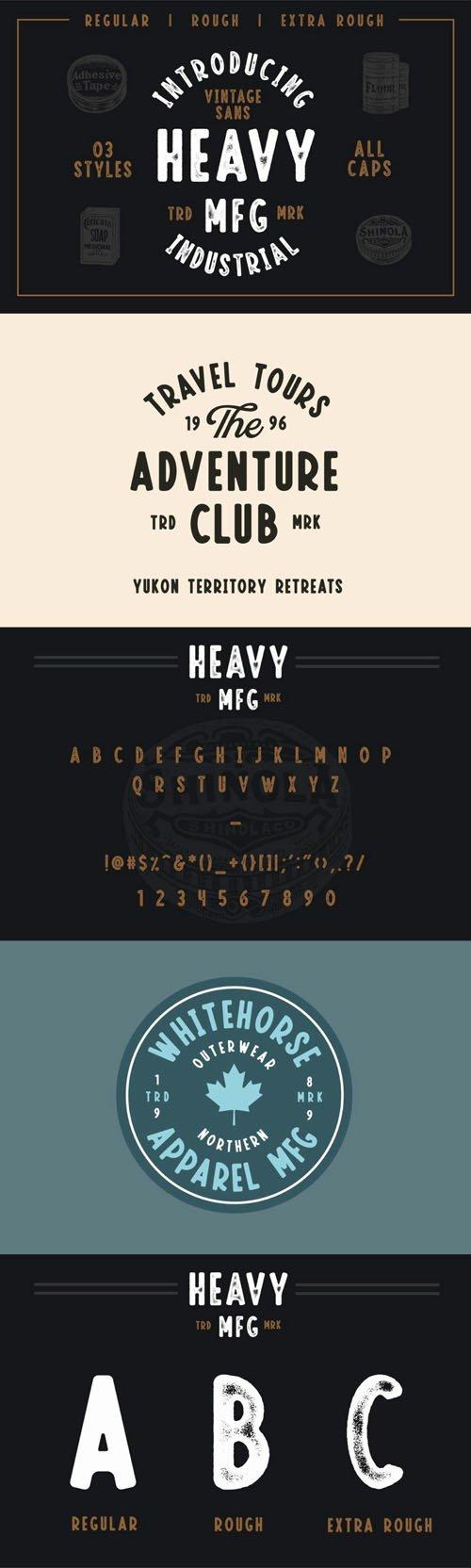 Heavy MFG - Vintage Press Inspired Sans Serif Font